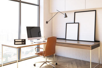 White home office interior, loft side