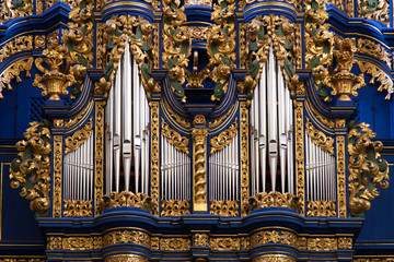 Fragment of organ in church in Saint Lipka with nice pipes