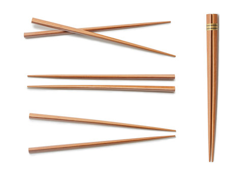 Wooden Chopsticks. Set Accessories for Sushi Isolated on White Background. Asian Food Chopsticks.