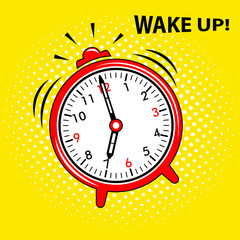 Wake up. Alarm clock icon, vector illustration.