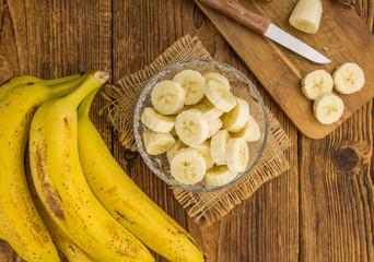Portion of Sliced Bananas, selective focus