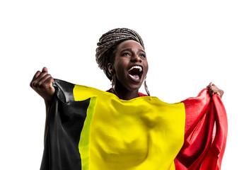 Belgian afro fan holding the national flag