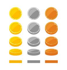 Flat cartoon coins rotation frames