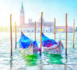 Two gondolas docked on Piazza San Marco Venice, digital generated painting