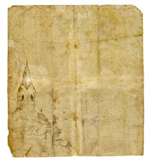 Old paper with castle drawing isolated on white with copy space