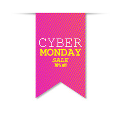 Cyber Monday Sale Banner, Label Design, Background. Vector illustration