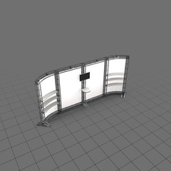 Curved four panel room divider