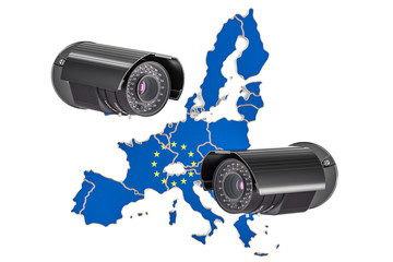 Surveillance and security system concept in European Union. 3D rendering