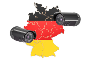 Surveillance and security system concept in Germany. 3D rendering