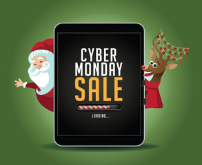 Cyber Monday Sale loading electronic notebook background with Santa Claus and reindeer.