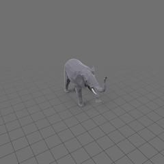 Stylized elephant with raised trunk