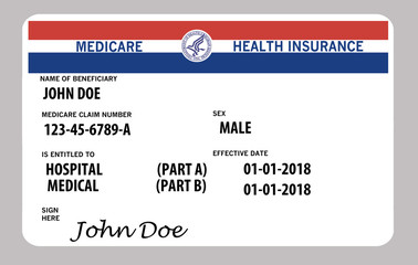 Medicare health insurance card. This is a John Doe mock Medicare card.