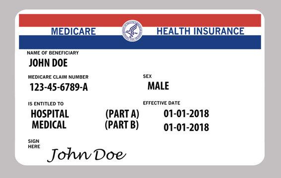 Medicare health insurance card. This is a John Doe mock Medicare card.