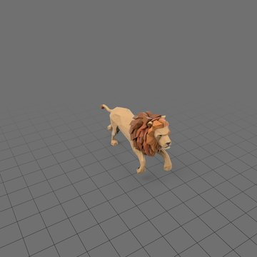 Stylized lion running
