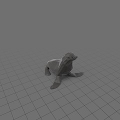 Stylized seal sitting