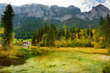 Fototapete - Wonderful green waters of Hintersee lake. Amazing autumn landscape of Bavarian Alps on the Austrian border, Germany.