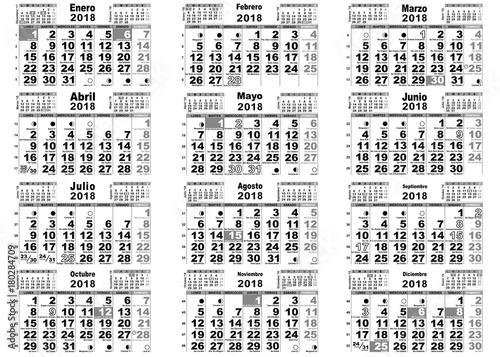 Calendario 2o18.Calendario 2018 Santos Lunas Espana Stock Image And Royalty