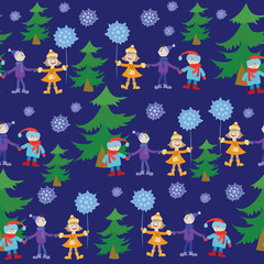Children near the Christmas tree. Seamless pattern. Design for textiles and packaging materials, background image.