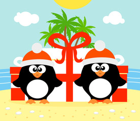 Tropical Christmas background with two penguins
