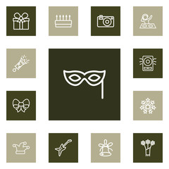 Set Of 13 Cocktail Outline Icons Set.Collection Of Flower, Mask, Gift And Other Elements.