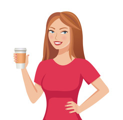 Pretty cute brown-haired smiling girl holding a paper coffee cup template isolated on white background. Vector illustration