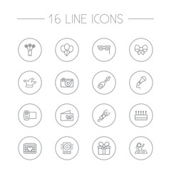 Set Of 16 Cocktail Outline Icons Set.Collection Of Event, Pastry, Balloon And Other Elements.