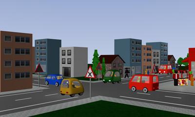 Kreuzung mit rechts vor links Regelung. Mit deutschen Straßenschildern