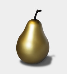 Gold pear on 18 percent gray background with shadow