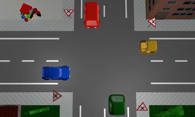 Kreuzung mit rechts vor links Regelung und vier bunten Autos. Ansicht von oben. Mit deutschen Straßenschildern.