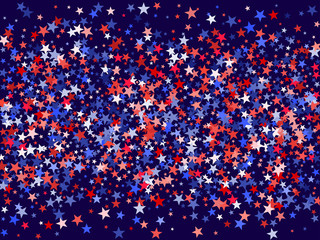 Colors of USA flag background, blue and red stars falling. American President Day background for card, banner, poster or flyer. Holiday star dust pattern in red, white, blue. USA symbols confetti.