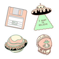 Set of fashion patches elements. Set of stickers, pins, patches and handwritten notes collection in cartoon 80s-90s comic style.Vector stikers kit
