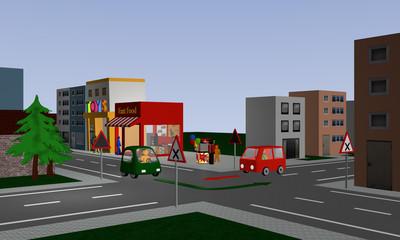 Kreuzung mit rechts vor links Regelung mit zwei bunten Autos und Richtungspfeilen. Mit deutschen Straßenschildern.