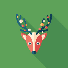 Christmas deer flat square icon with long shadows.
