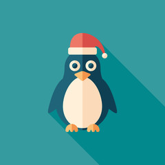 Christmas penguin flat square icon with long shadows.