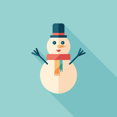 Snowman flat square icon with long shadows.