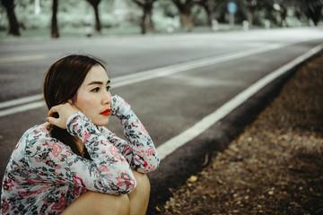 Beautiful thai woman very sad from unrequited love,heartbreak asian woman vintage style,broken heart girl concept