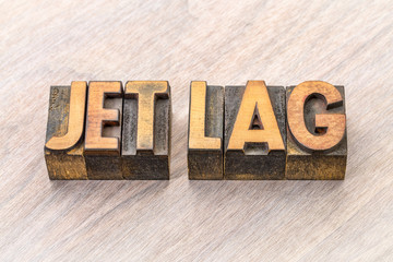 jet lag word abstract in wood type