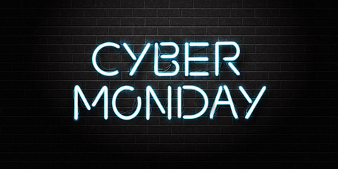 Vector realistic isolated neon sign of Cyber Monday lettering for decoration and covering on the wall background. Concept of sale and discount.