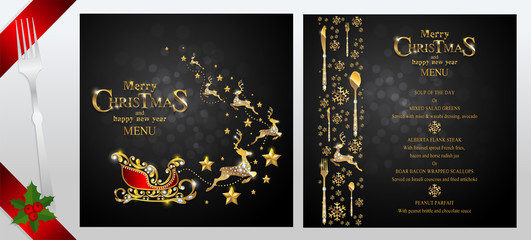 Christmas Greeting and New Years dinner menu card templates with gold patterned and crystals on background color.