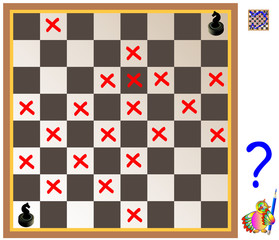 Logic puzzle with labyrinth. Need to find way from the first chess knight till the second. Forbidden to step on the red crosses. Vector image.