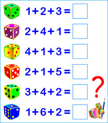 Educational page with exercises for children on addition. Count the number of dots on the dices. Solve examples and write the answers. Vector image.