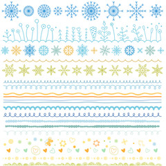 Seamless vector borders set. Christmas doodle patterns, symbols, snowflakes, hearts, flowers, waves, abstract hand drawn brush lines collections. New Year flat winter drawings, icons, design elements