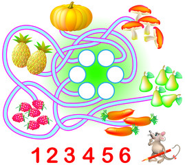 Logic exercise for young children. Need to count the quantity of each product and write the corresponding numbers in circles. Vector cartoon image.