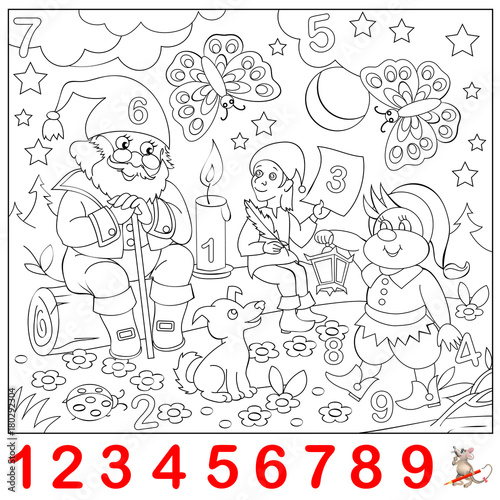 Educational Page For Young Children Find The Numbers Hidden In The