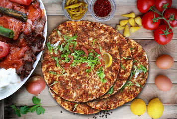 Lahmacun and doner kebab. Traditional Turkish food.