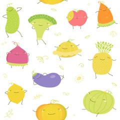 Vector illustration of fruits, vegetables, healthy food, vitamins. Cartoon cabbage, carrot, pineapple, cucumber, lemon, watermelon, pumpkin, apple characters. Vegetarian veggies seamless pattern.