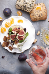 cheese with white mold and figs