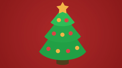 Christmas tree icon with star and baubles