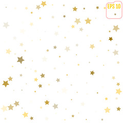 Abstract pattern of random falling gold stars on white background. Glitter template for banner, greeting card, Christmas and New Year card, invitation, postcard, paper packaging. Vector illustration