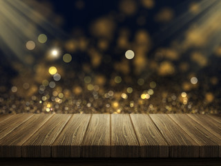 3D wooden table against a bokeh lights background